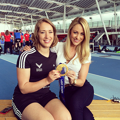 Caroline Pearce and Olympic Skeleton Champion Lizzy Yarnold