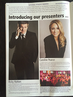 Caroline Pearce in newspaper with Ricky Hatton, hosts of 2014 National Fitness Awards